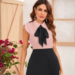 shein sleevless collared blouse w/ bow